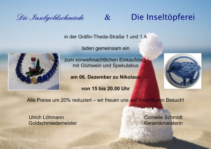 Bild 0 von Vorweihnachtlicher Einkaufstag in der Inselgoldschmiede und der Inseltöpferei